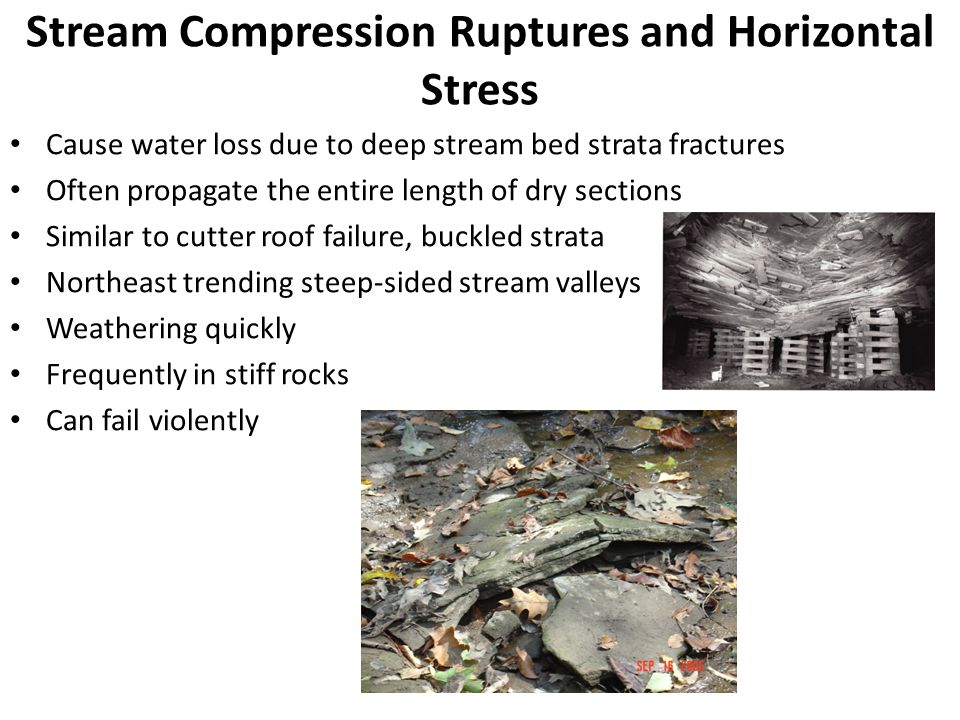 Stream Compression Ruptures and Horizontal Stress Cause water loss due to deep stream bed strata fractures Often propagate the entire length of dry se