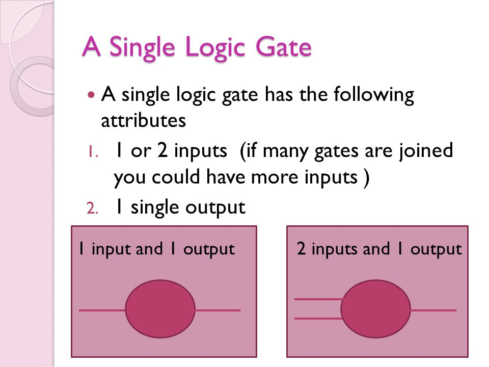 A Single Logic Gate A single logic gate has the following attributes 1. 1 or 2 inputs (if many gates are joined you could have more inputs ) 2. 1 sing