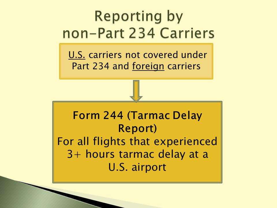 U.S. carriers not covered under Part 234 and foreign carriers Form 244 (Tarmac Delay Report) For all flights that experienced 3+ hours tarmac delay at