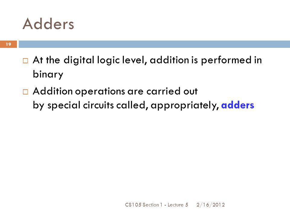 Adders At the digital logic level, addition is performed in binary Addition operations are carried out by special circuits called, appropriately, adde