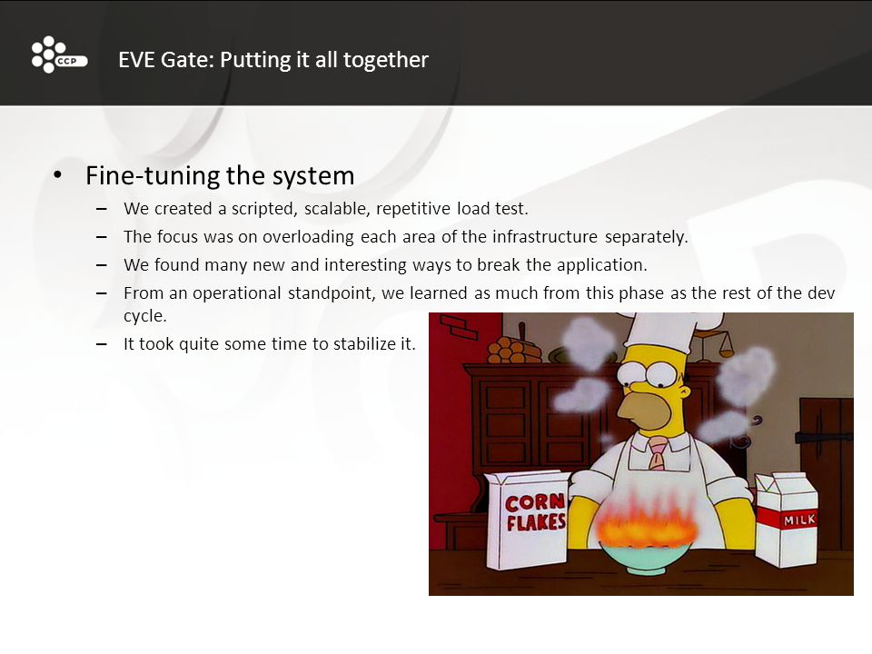 EVE Gate: Putting it all together Fine-tuning the system – We created a scripted, scalable, repetitive load test.