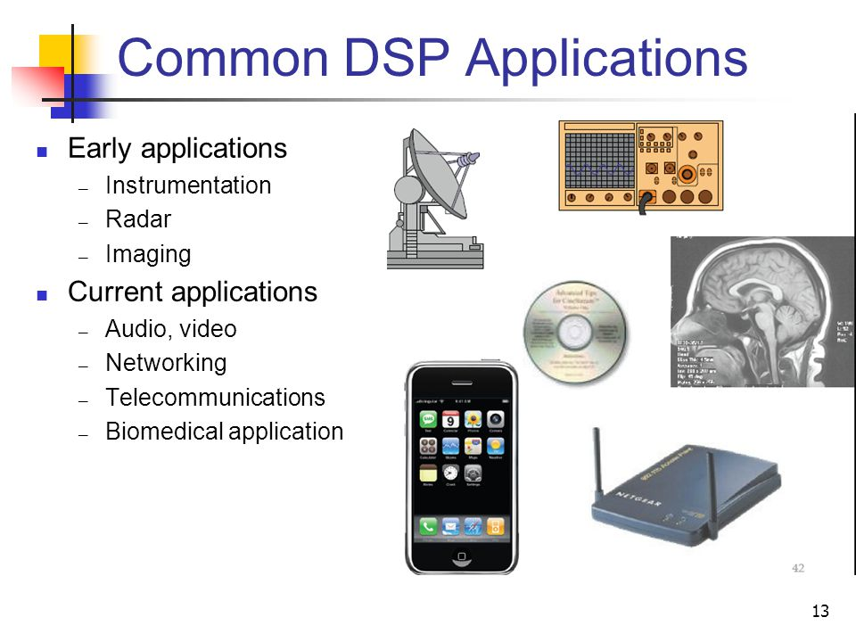 Common DSP Applications Early applications Instrumentation Radar Imaging Current applications Audio, video Networking Telecommunications Biomedical ap