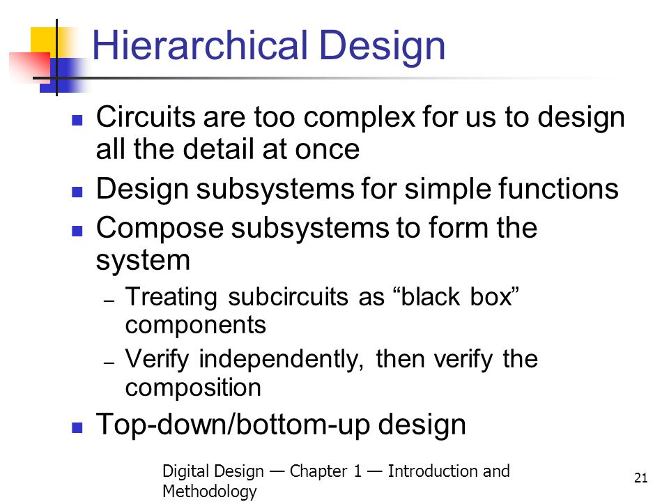 Digital Design Chapter 1 Introduction and Methodology 21 Hierarchical Design Circuits are too complex for us to design all the detail at once Design s