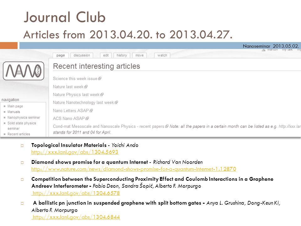 Journal Club Articles from 2013.04.20. to 2013.04.27.