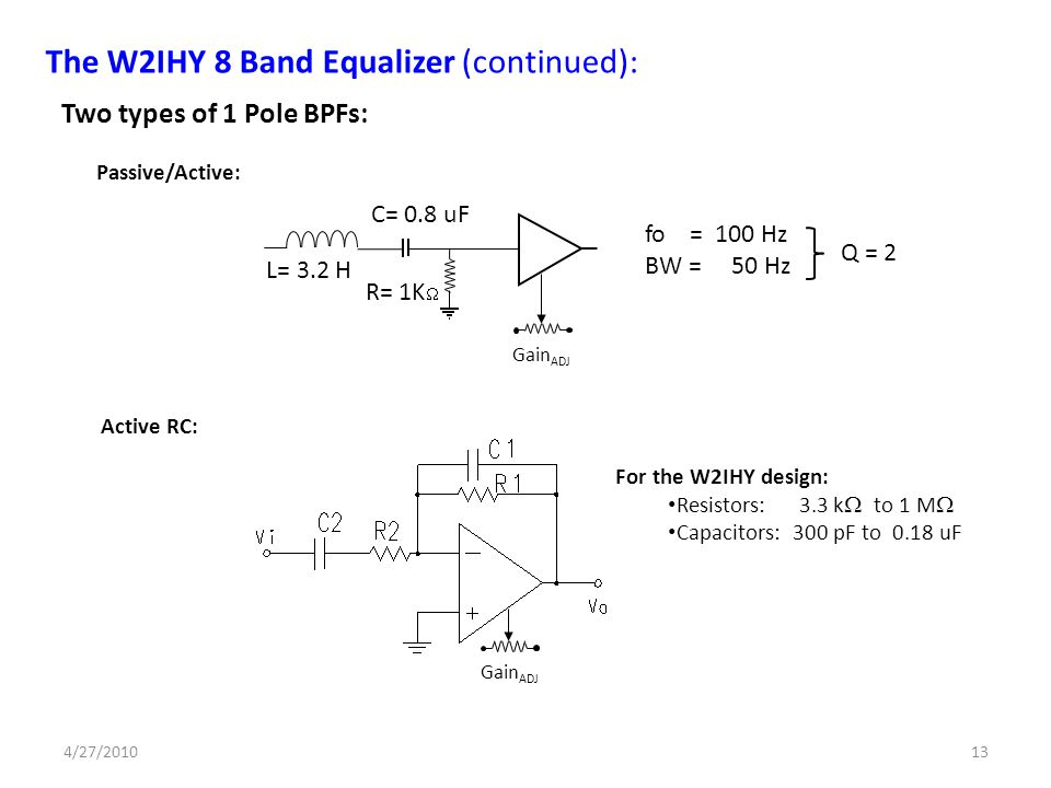 Passive/Active: Active RC: Two types of 1 Pole BPFs: Gain ADJ The W2IHY 8 Band Equalizer (continued): L= 3.2 H R= 1K C= 0.8 uF For the W2IHY design: R