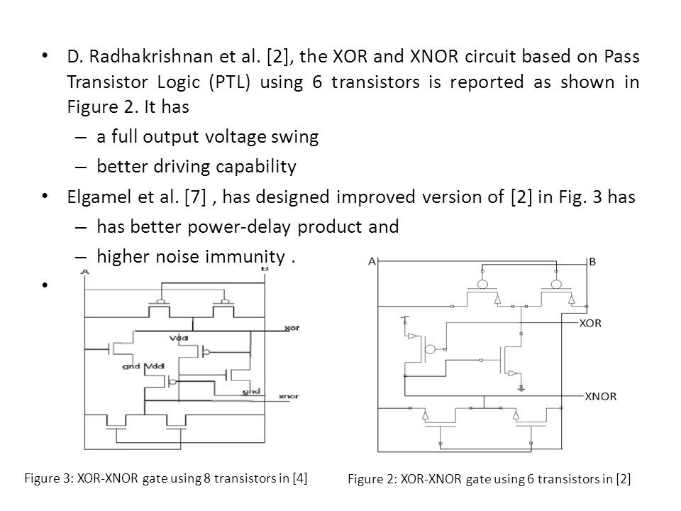 D. Radhakrishnan et al. [2], the XOR and XNOR circuit based on Pass Transistor Logic (PTL) using 6 transistors is reported as shown in Figure 2. It ha