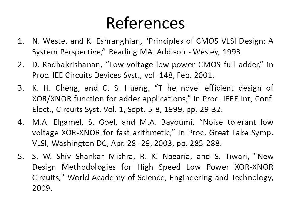 References 1.N. Weste, and K. Eshranghian, Principles of CMOS VLSI Design: A System Perspective, Reading MA: Addison - Wesley, 1993. 2.D. Radhakrishan
