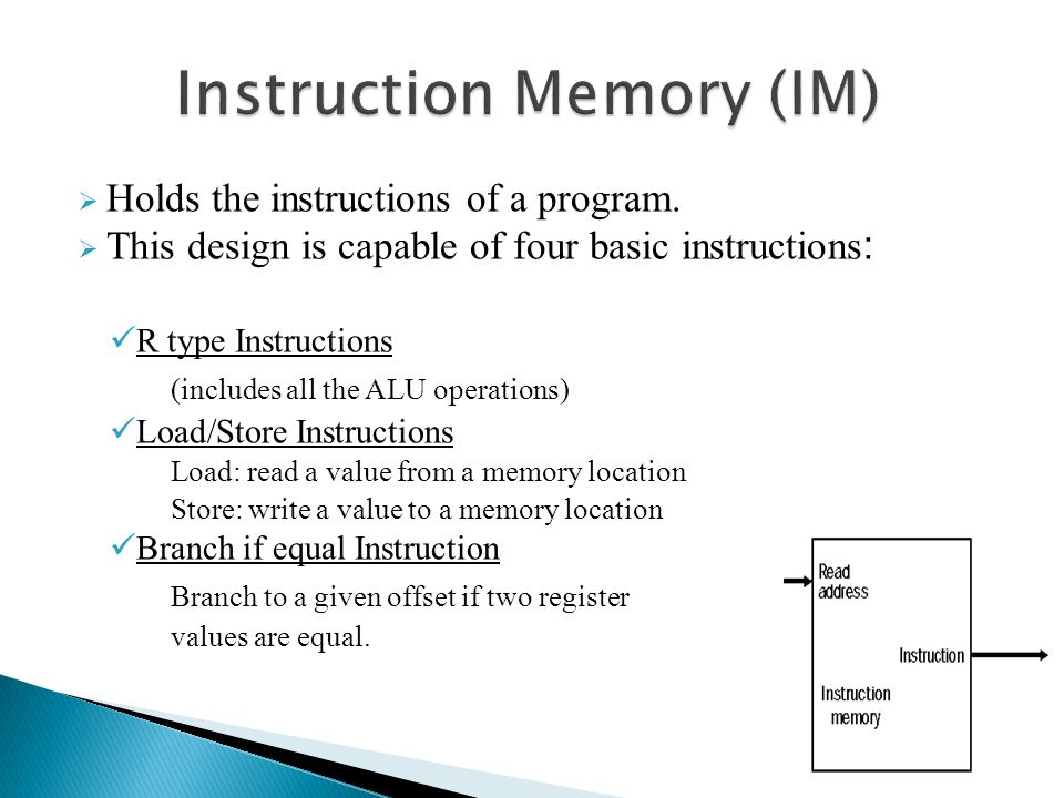 Holds the instructions of a program. This design is capable of four basic instructions : R type Instructions (includes all the ALU operations) Load/St