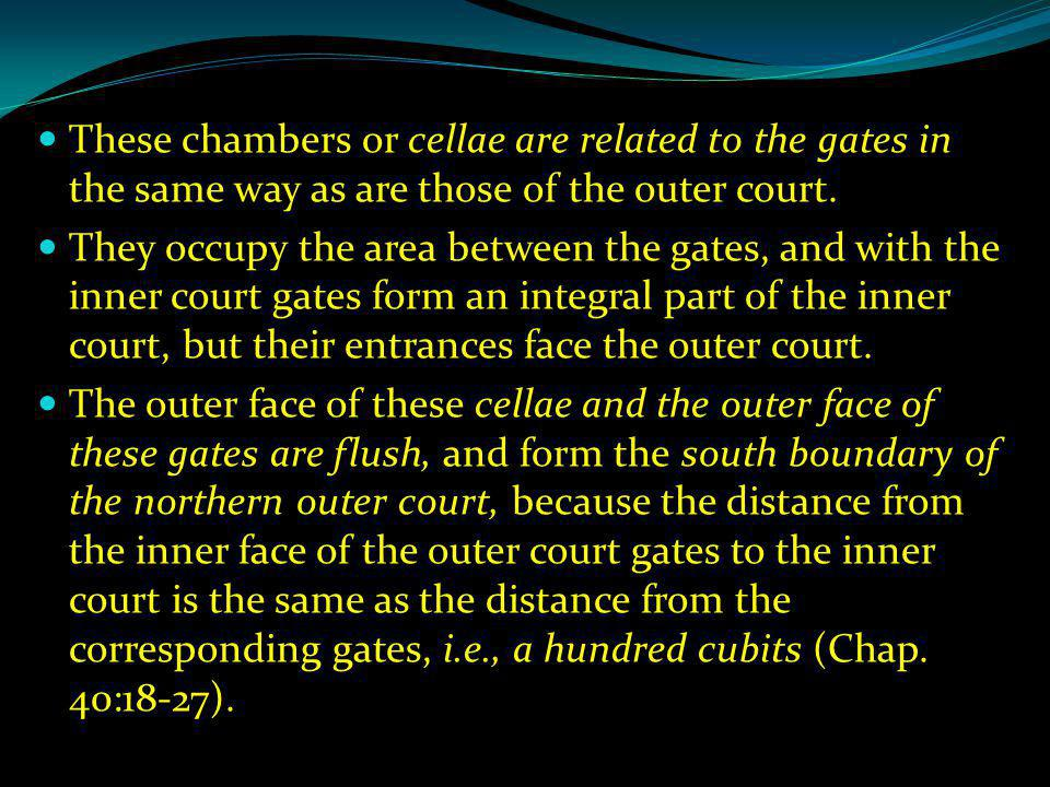 These chambers or cellae are related to the gates in the same way as are those of the outer court.