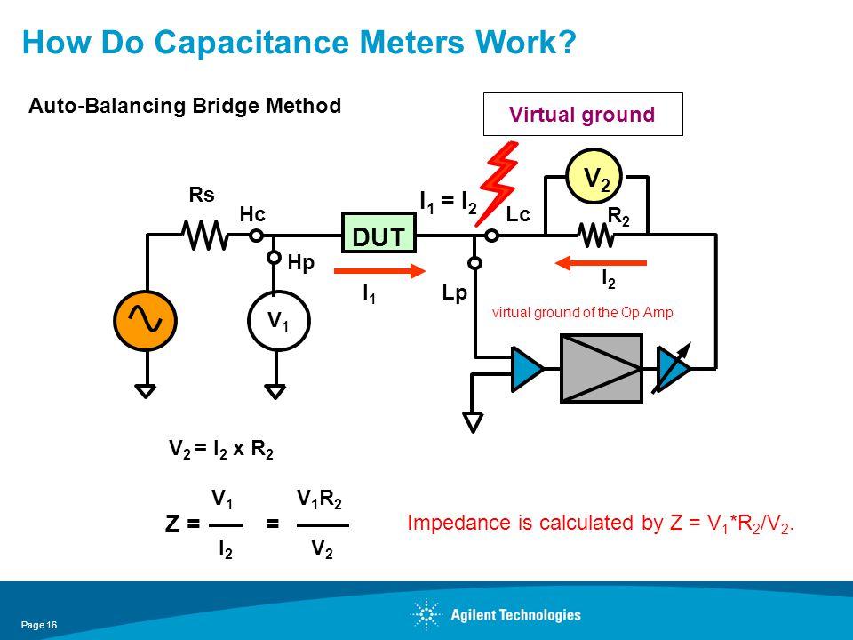 How Do Capacitance Meters Work? Virtual ground Z = = V 2 = I 2 x R 2 I2I2 V1V1 V2V2 V1R2V1R2 V2V2 Hc R2R2 Hp Lp Lc Rs DUT V1V1 I2I2 I 1 = I 2 I1I1 Aut