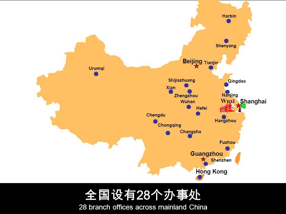 28 28 branch offices across mainland China Harbin Shenyang Beijing Xian Nanjing Wuhan Hangzhou Chengdu Wuxi Guangzhou Qingdao Tianjin Shanghai Changsha Fuzhou Chongqing Zhengzhou Shijiazhuang Hefei Shenzhen Urumqi Hong Kong