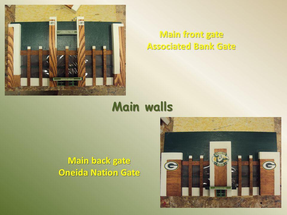Main front gate Associated Bank Gate Main walls Main back gate Oneida Nation Gate