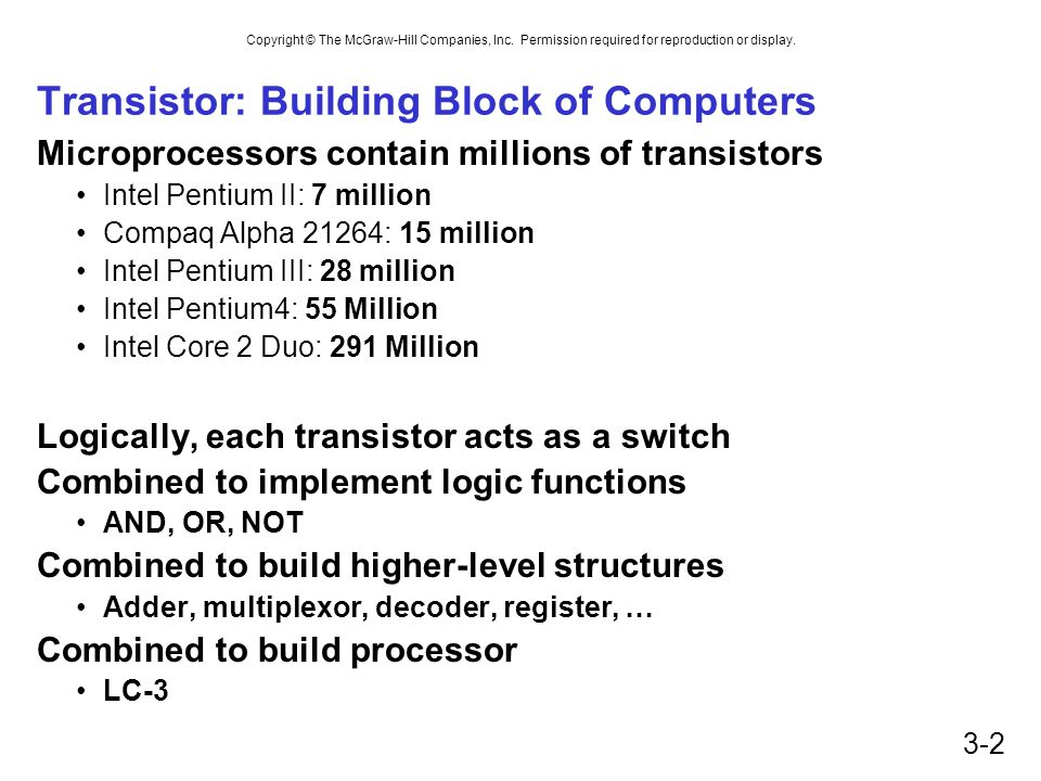 Copyright © The McGraw-Hill Companies, Inc. Permission required for reproduction or display. 3-2 Transistor: Building Block of Computers Microprocesso