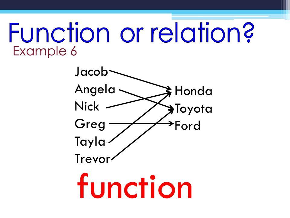 Example 6 function Jacob Angela Nick Greg Tayla Trevor Honda Toyota Ford
