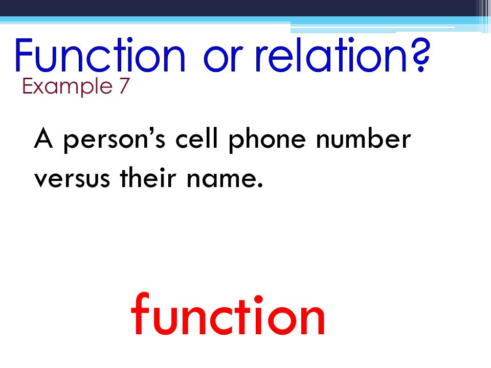 Example 7 function A persons cell phone number versus their name.