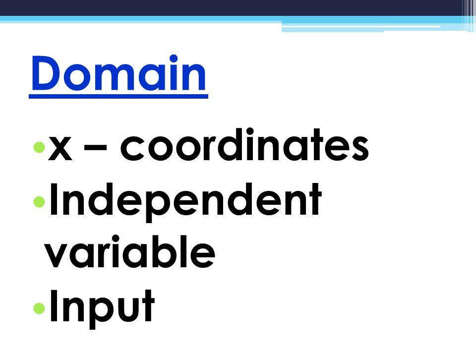 Domain x – coordinates Independent variable Input
