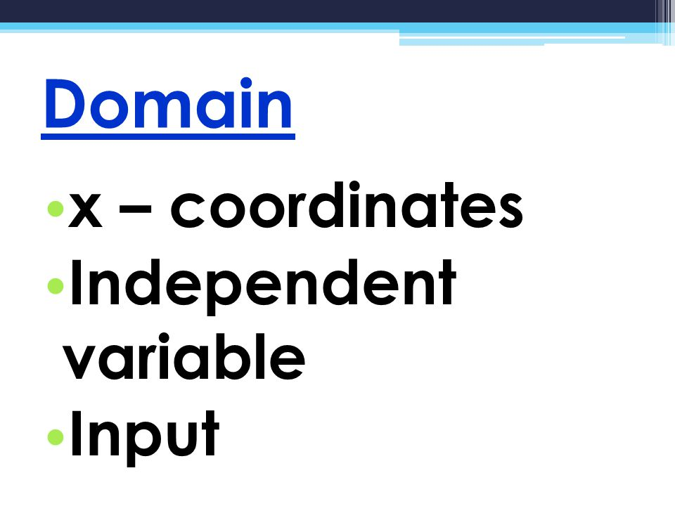 Range y – coordinates Dependent variable Output