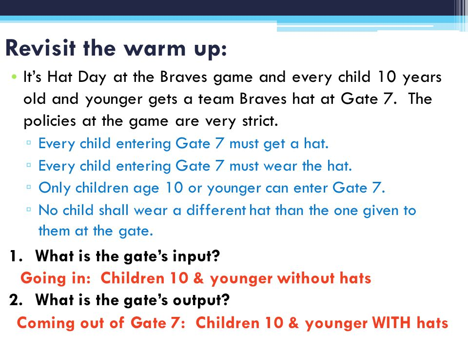 Revisit the warm up: Its Hat Day at the Braves game and every child 10 years old and younger gets a team Braves hat at Gate 7.
