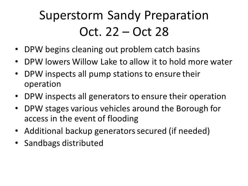Superstorm Sandy Preparation Oct.