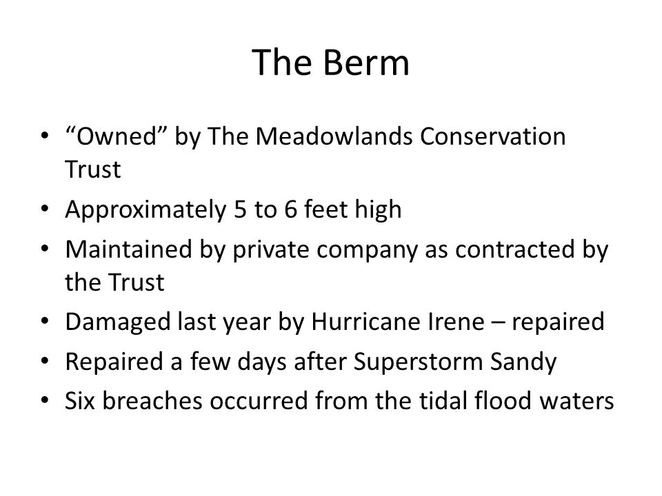 The Berm Owned by The Meadowlands Conservation Trust Approximately 5 to 6 feet high Maintained by private company as contracted by the Trust Damaged last year by Hurricane Irene – repaired Repaired a few days after Superstorm Sandy Six breaches occurred from the tidal flood waters