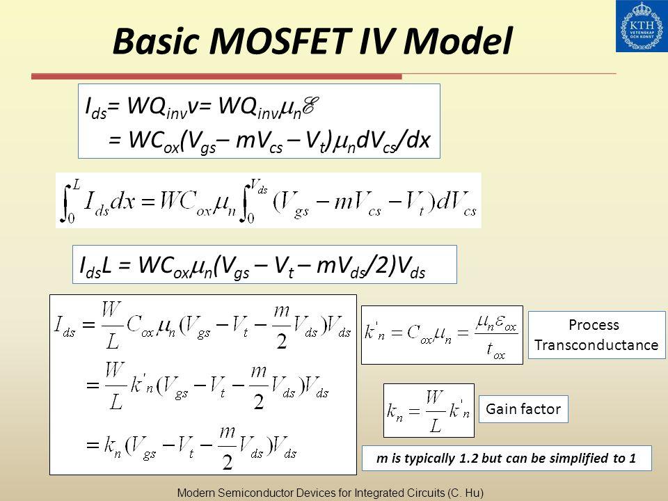 Basic MOSFET IV Model I ds = WQ inv v= WQ inv n E = WC ox (V gs – mV cs – V t ) n dV cs /dx I ds L = WC ox n (V gs – V t – mV ds /2)V ds Modern Semico
