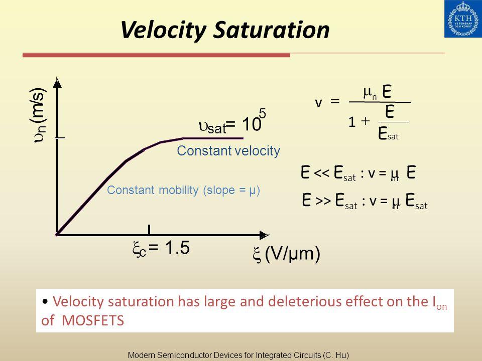 Velocity Saturation sat n v E E E 1 Velocity saturation has large and deleterious effect on the I on of MOSFETS E << E sat : v = E n E >> E sat : v =