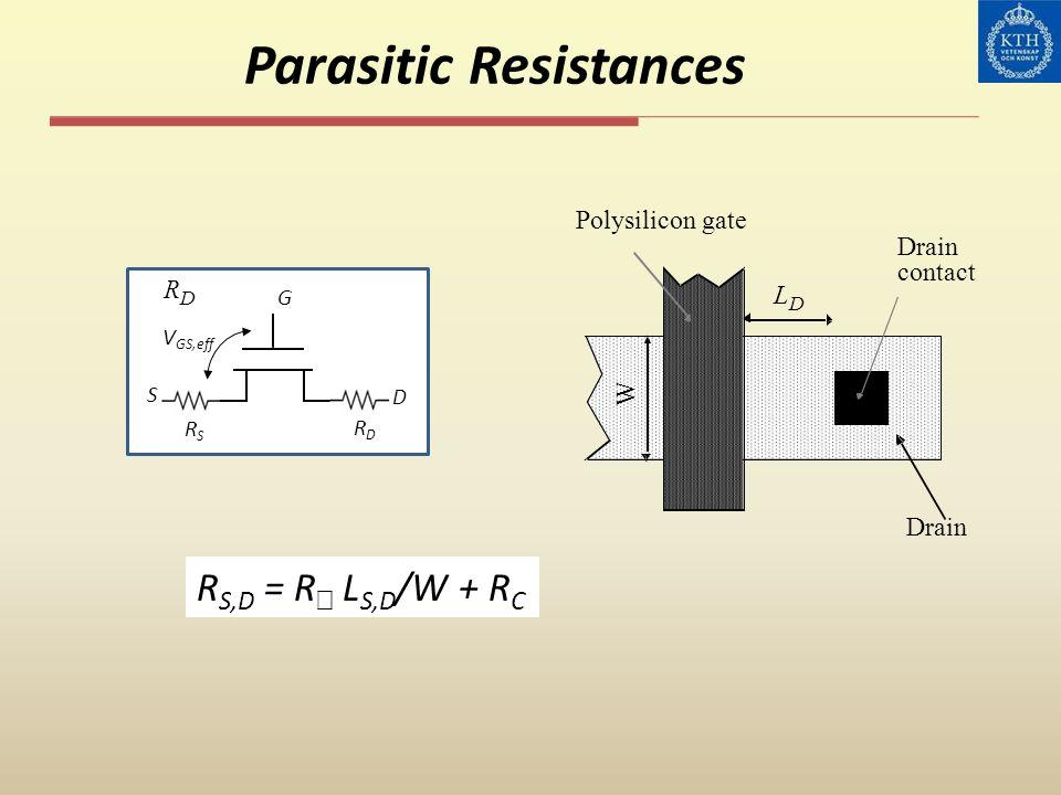 Parasitic Resistances W L D Drain contact Polysilicon gate R G D S D V GS,eff RSRS RDRD R S,D = R L S,D /W + R C