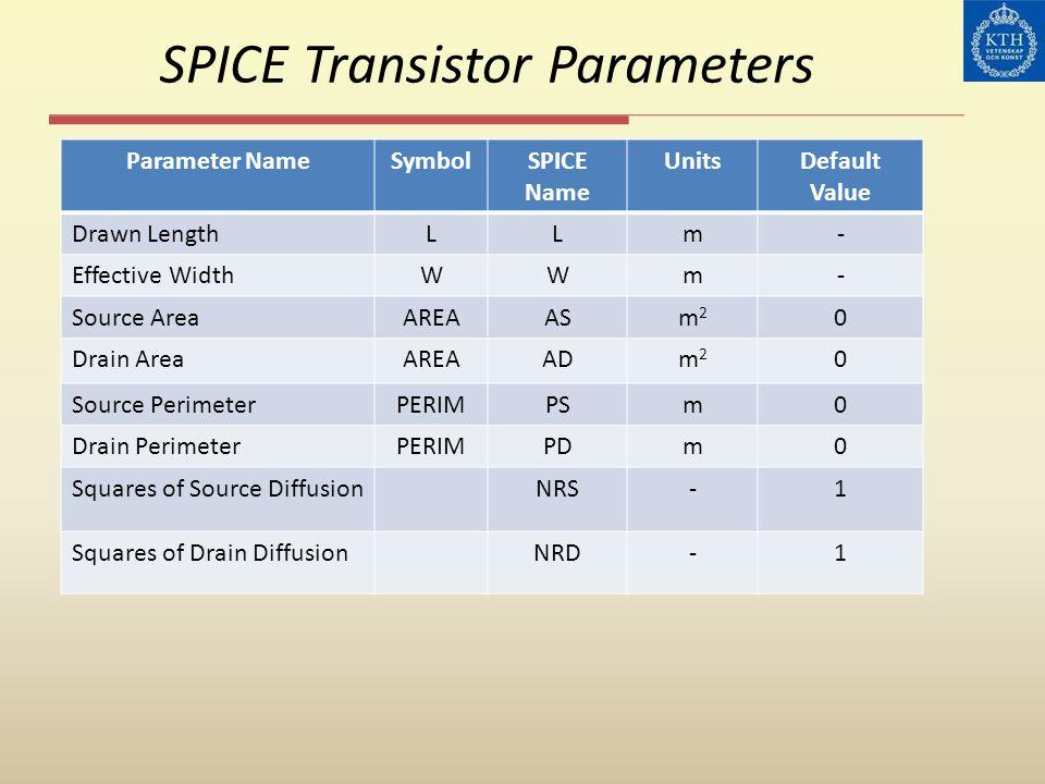 SPICE Transistor Parameters Parameter NameSymbolSPICE Name UnitsDefault Value Drawn LengthLLm- Effective WidthWWm- Source AreaAREAASm2m2 0 Drain AreaA