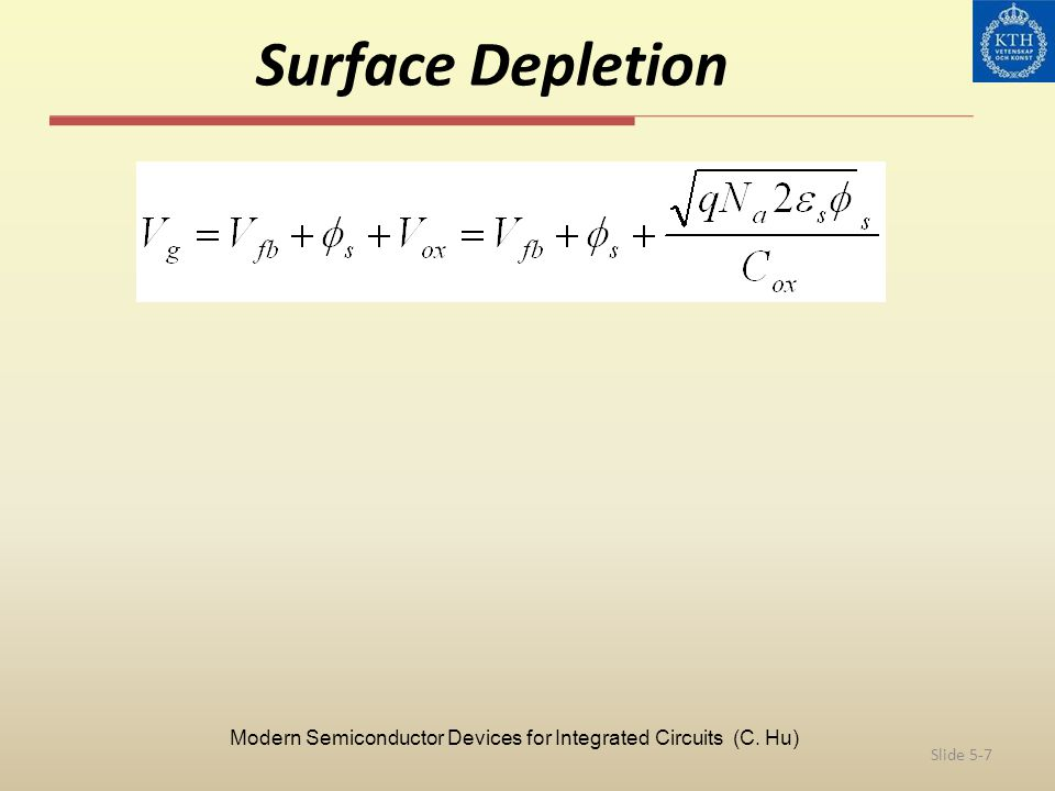 Surface Depletion Slide 5-7 Modern Semiconductor Devices for Integrated Circuits (C. Hu)