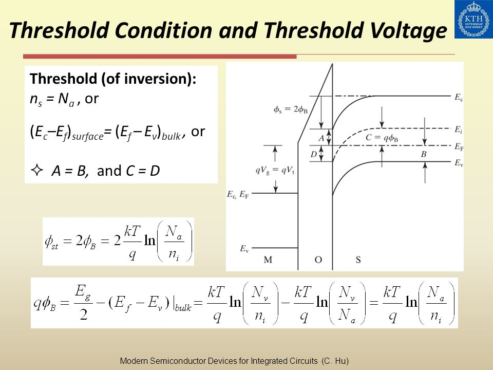 EXAMPLE: Drain Saturation Voltage Question: At V gs = 1.8 V, what is the V dsat of an NFET with T oxe = 3 nm, V t = 0.25 V, and W dmax = 45 nm for (a) L =10 m, (b) L = 1 um, (c) L = 0.1 m, and (d) L = 0.05 m.