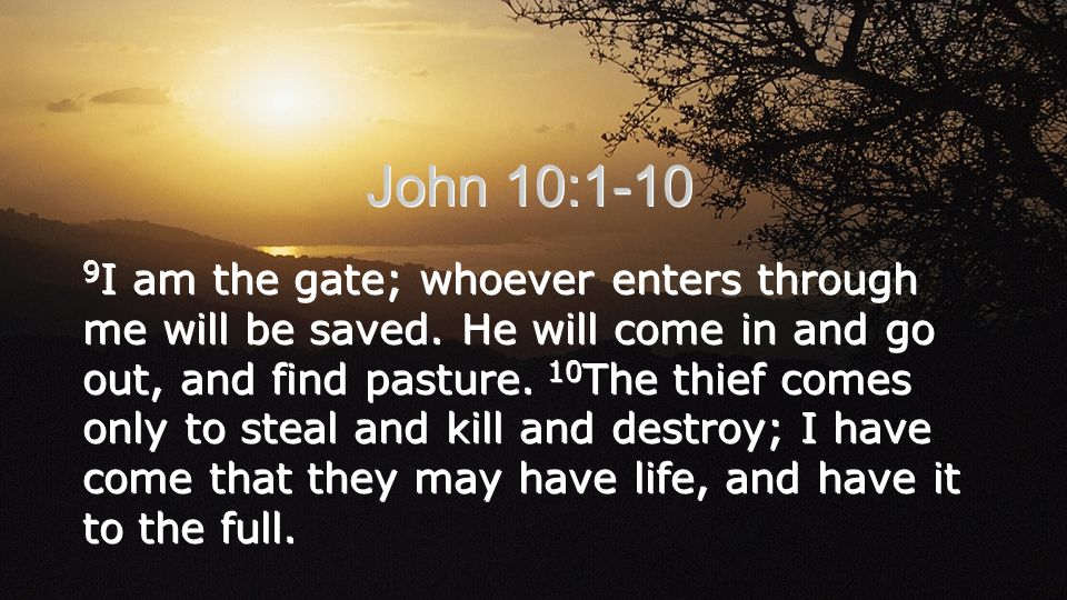 9 I am the gate; whoever enters through me will be saved.
