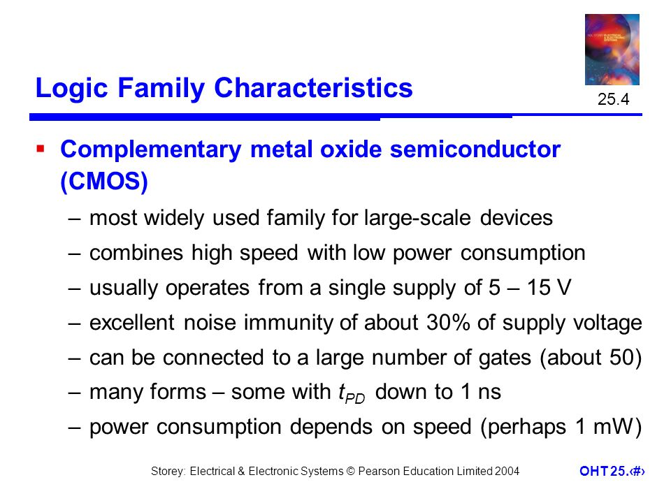 Storey: Electrical & Electronic Systems © Pearson Education Limited 2004 OHT 25.16 Logic Family Characteristics Complementary metal oxide semiconducto