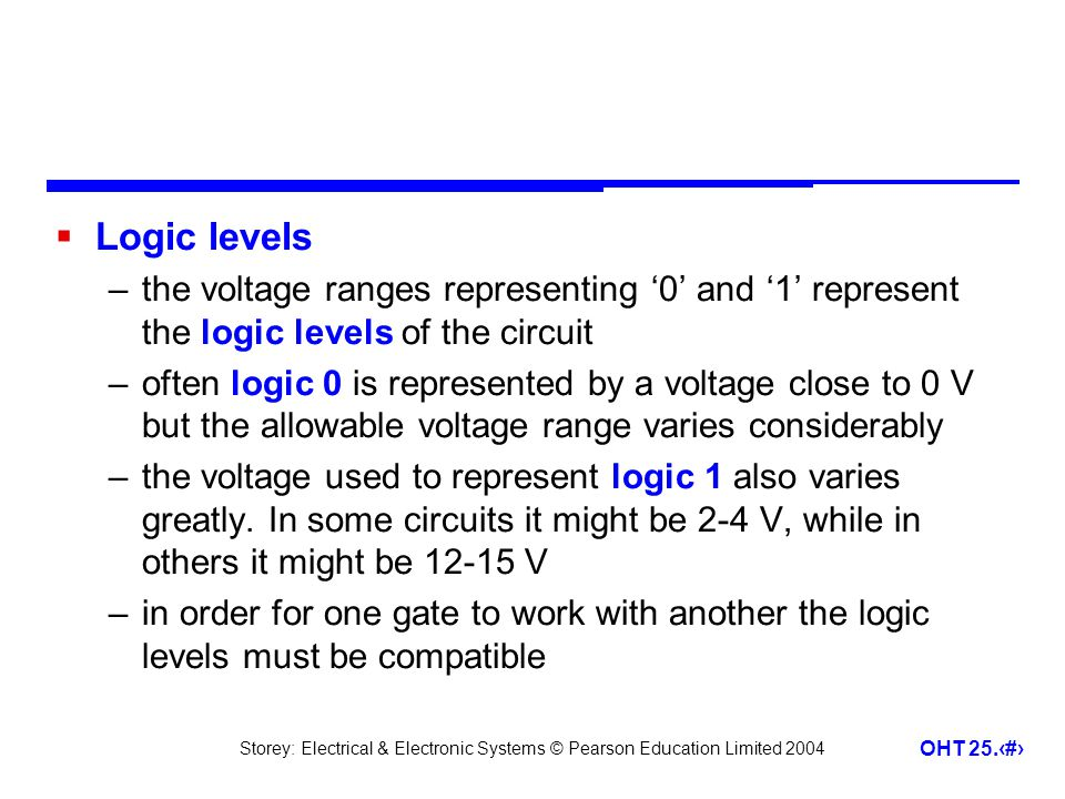 Storey: Electrical & Electronic Systems © Pearson Education Limited 2004 OHT 25.7 Logic levels –the voltage ranges representing 0 and 1 represent the