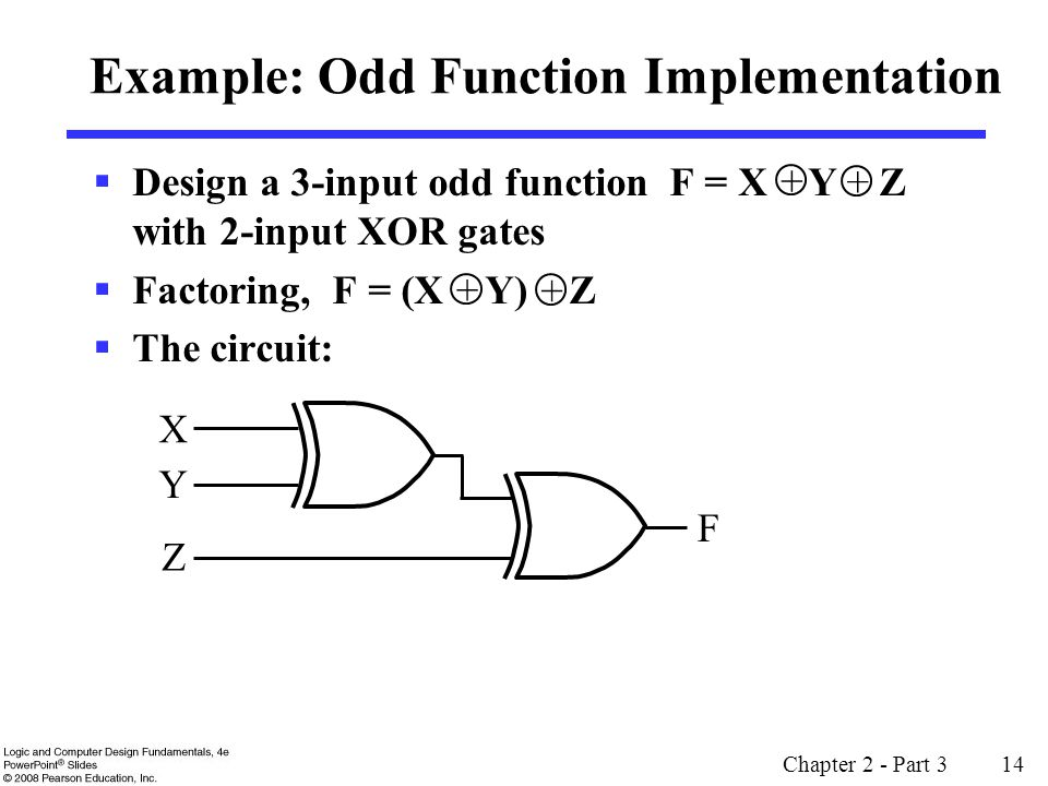 Chapter 2 - Part 3 14 Example: Odd Function Implementation Design a 3-input odd function F = X Y Z with 2-input XOR gates Factoring, F = (X Y) Z The circuit: + + + + X Y Z F