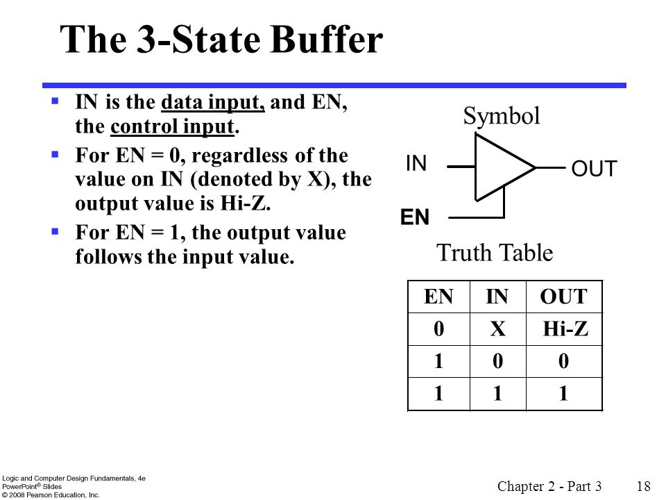 Chapter 2 - Part 3 18 The 3-State Buffer IN is the data input, and EN, the control input.