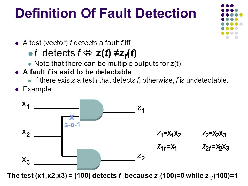 Definition Of Fault Detection A test (vector) t detects a fault f iff t detects f z(t) z f (t) Note that there can be multiple outputs for z(t) A faul