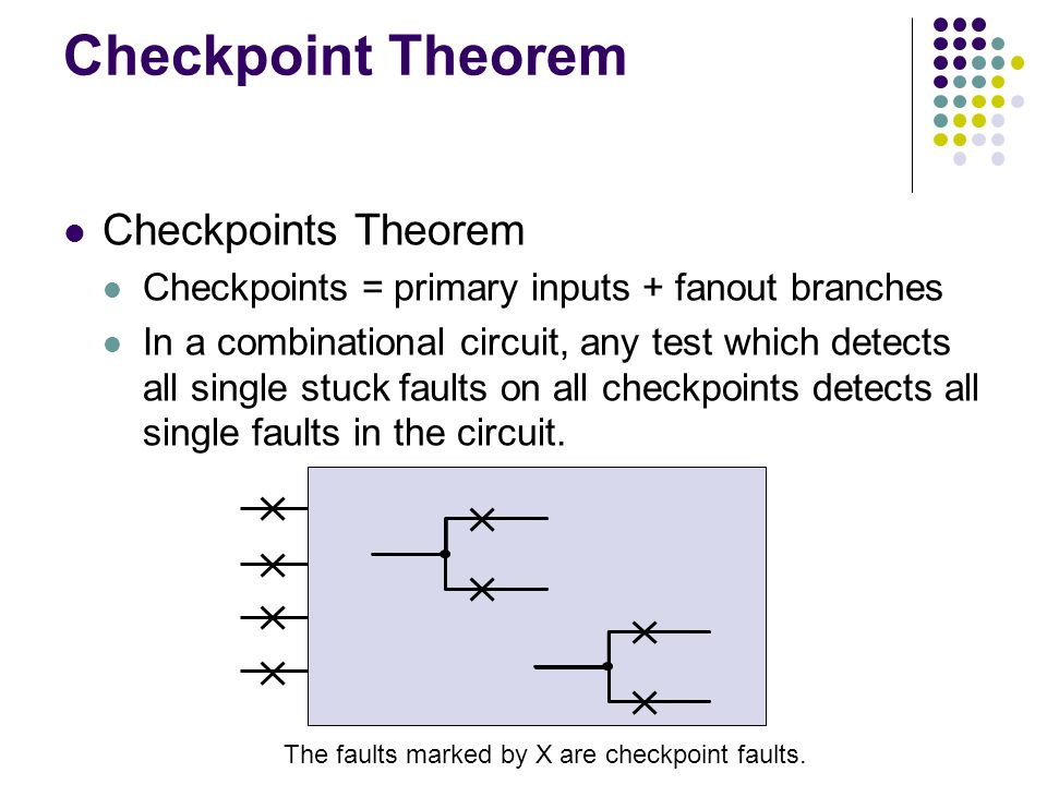 Checkpoint Theorem Checkpoints Theorem Checkpoints = primary inputs + fanout branches In a combinational circuit, any test which detects all single st