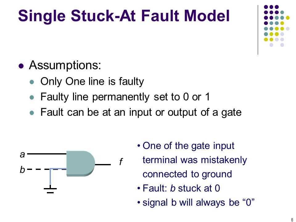 8 Single Stuck-At Fault Model Assumptions: Only One line is faulty Faulty line permanently set to 0 or 1 Fault can be at an input or output of a gate