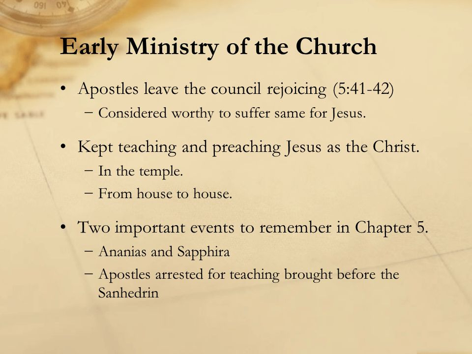 Apostles leave the council rejoicing (5:41-42) Considered worthy to suffer same for Jesus. Kept teaching and preaching Jesus as the Christ. In the tem