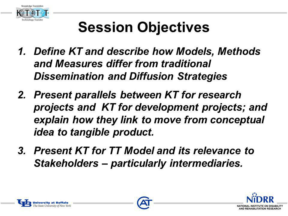 Session Objectives 1.Define KT and describe how Models, Methods and Measures differ from traditional Dissemination and Diffusion Strategies 2.Present