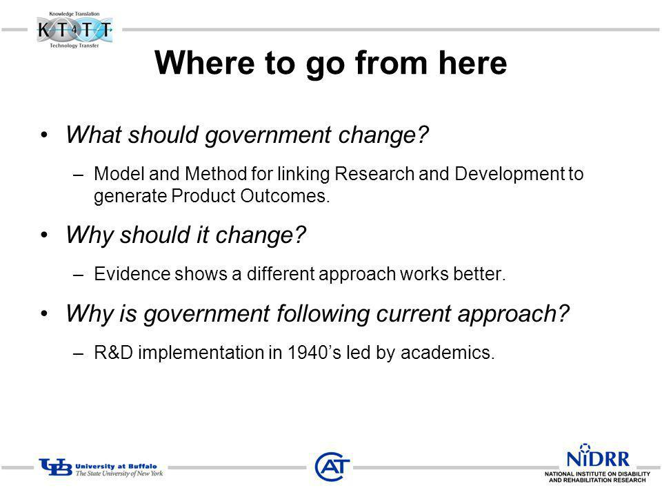 Where to go from here What should government change? –Model and Method for linking Research and Development to generate Product Outcomes. Why should i