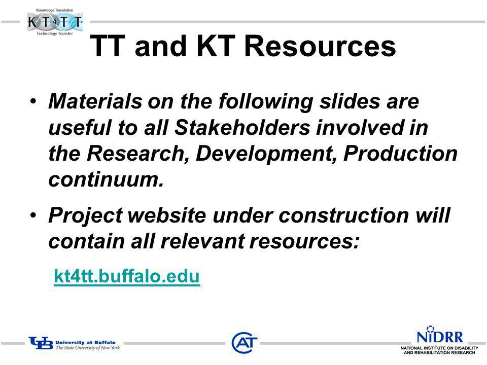 TT and KT Resources Materials on the following slides are useful to all Stakeholders involved in the Research, Development, Production continuum. Proj