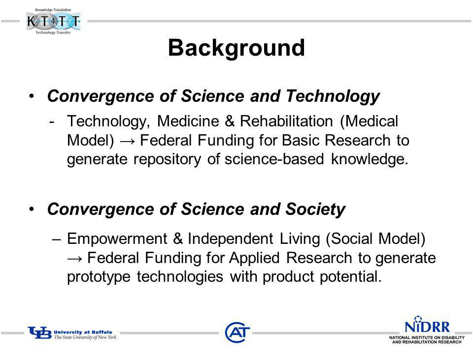Background Convergence of Science and Technology -Technology, Medicine & Rehabilitation (Medical Model) Federal Funding for Basic Research to generate repository of science-based knowledge.