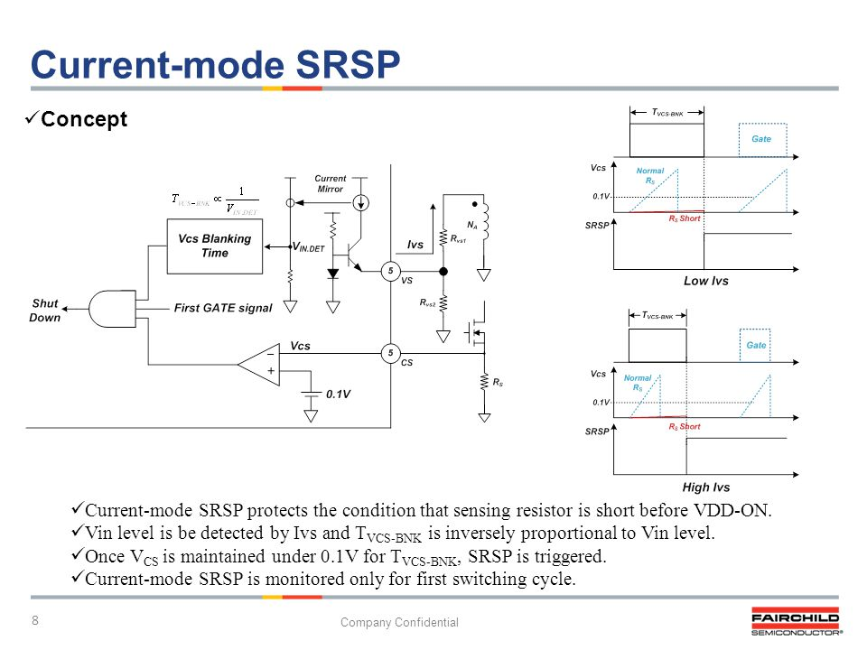 8 Company Confidential Current-mode SRSP Current-mode SRSP protects the condition that sensing resistor is short before VDD-ON. Vin level is be detect