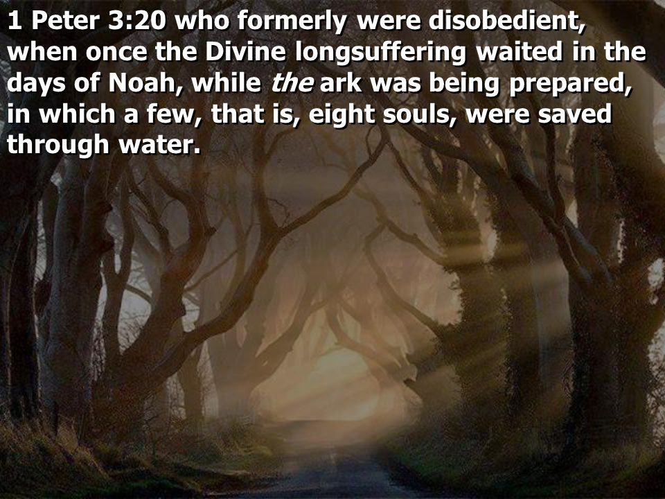 1 Peter 3:20 who formerly were disobedient, when once the Divine longsuffering waited in the days of Noah, while the ark was being prepared, in which