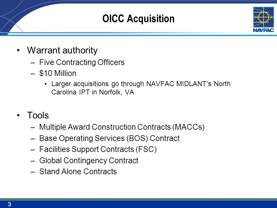 Current and Future Workload Current Workload - $2.1B –MILCON 61 contracts –FSRM 229 contracts Future Workload –FY13 and prior MILCON 5 projects @ $26M –FY14 MILCON 10 projects @ $168M –FY15 MILCON 2 projects @ $50M –FSRM ~$100 M/yr (FY16 sequestration returns?) Over $240M in MILCON yet to be awarded 4