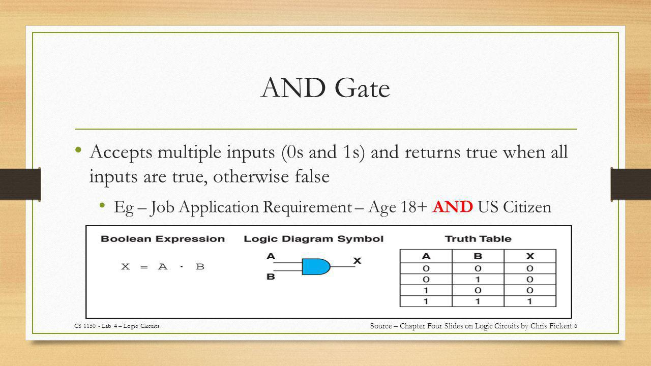 AND Gate 6 Accepts multiple inputs (0s and 1s) and returns true when all inputs are true, otherwise false Eg – Job Application Requirement – Age 18+ AND US Citizen CS 1150 - Lab 4 – Logic Circuits Source – Chapter Four Slides on Logic Circuits by Chris Fickert