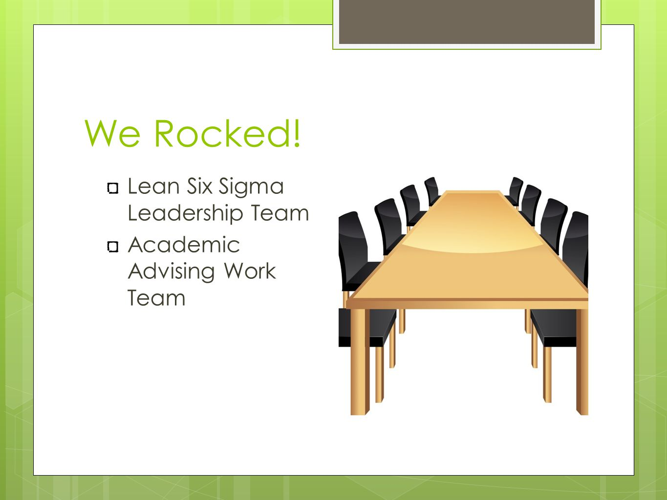 We Rocked! Lean Six Sigma Leadership Team Academic Advising Work Team