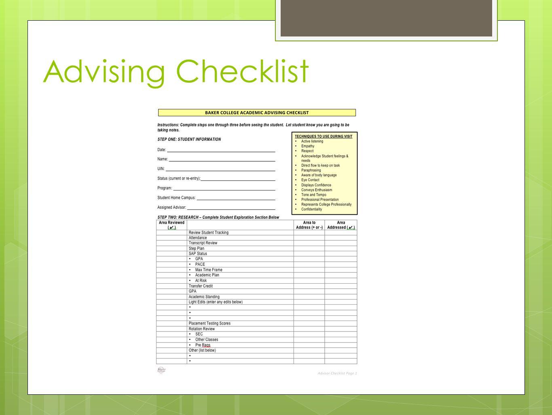 Advising Checklist