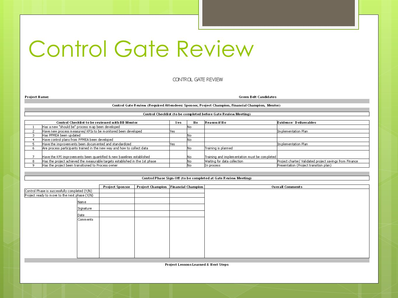 Control Gate Review